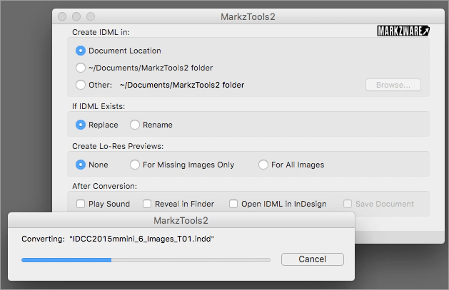Options dans l'application Mac MarkzTools2 de Markzware pour convertir Adobe InDesign CS5-CC 2018 en IDML