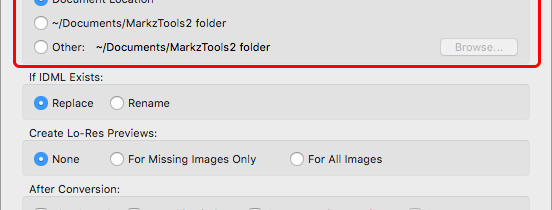 Markzware MarkzTools2 Preferences option Create IDML in