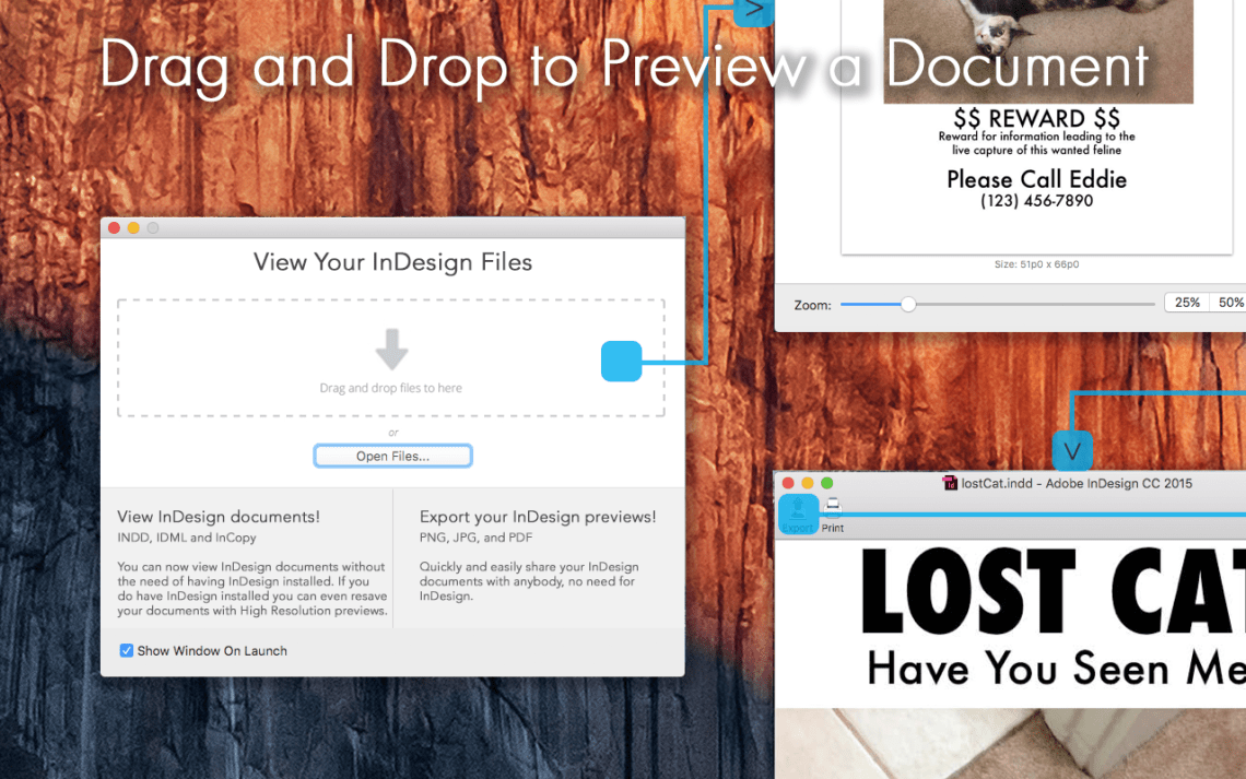 To Preview Your InDesign File, Drop It on ID Util's Preview Window
