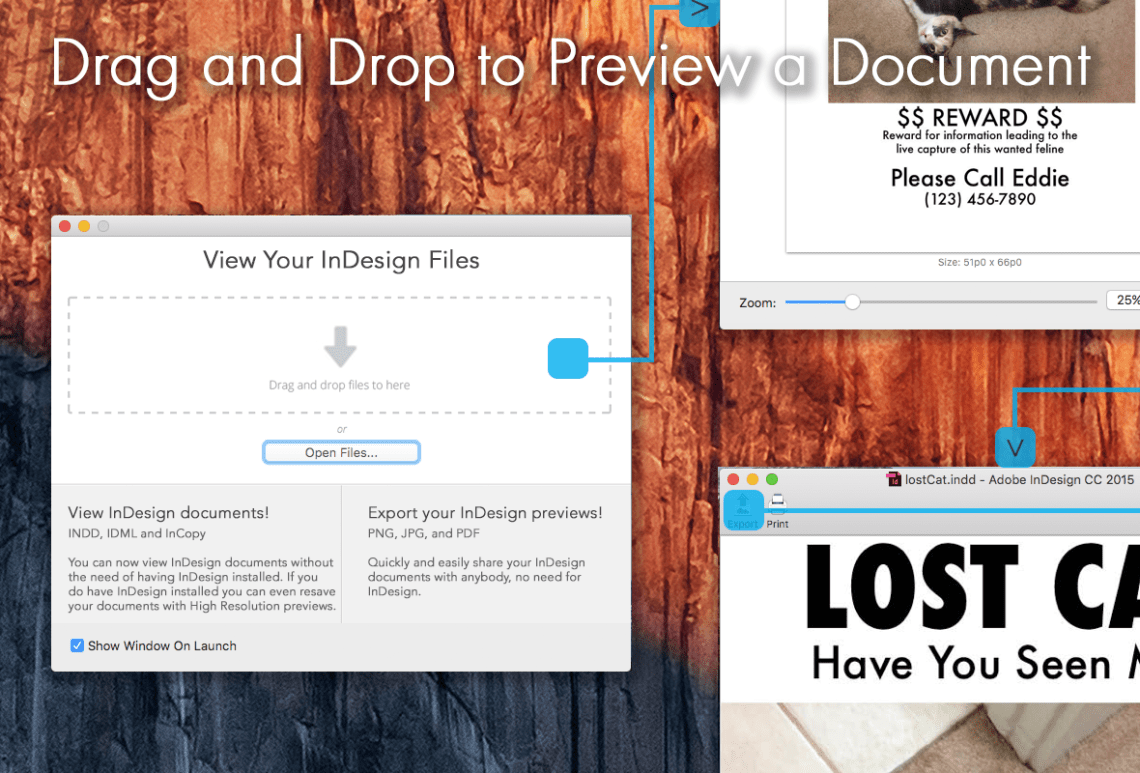 Drag and Drop Files onto Markzware's ID Util Prepress Application to Check InDesign Versions and InDesign Previews