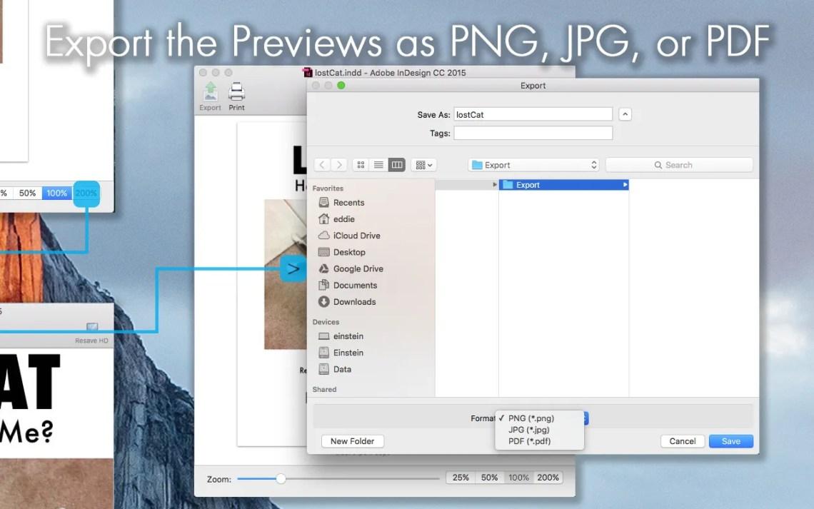 Exportation des aperçus de fichiers InDesign (Adobe INDD) au format PDF, JPG ou PNG, après avoir prévisualisé les mises en page InDesign via ID Util pour macOS