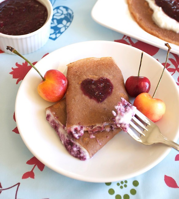 Healthy whole grain crepe recipe with chocolate and cherries.