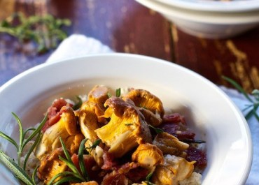 Wild mushrooms with bacon and herbs by Marla Meridith