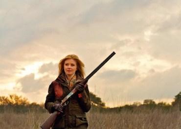 Georgia Pellegrini with shot gun at Joshua Creek Ranch, TX