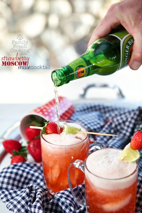 Strawberry Moscow Mule Cocktail | MarlaMeridith.com