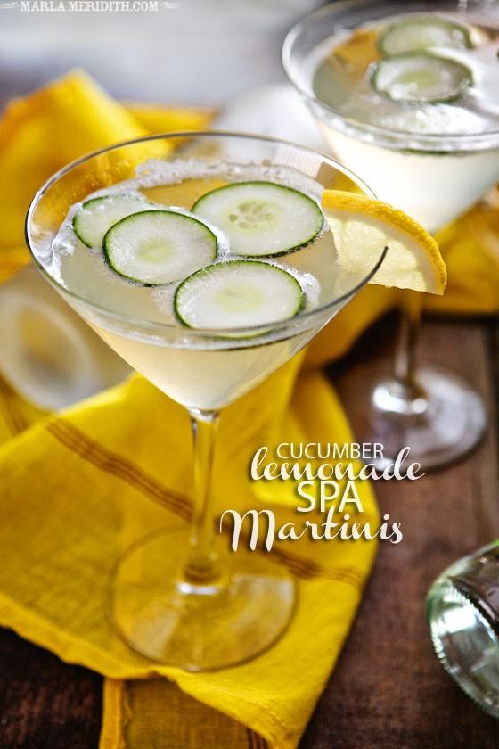 Cucumber Lemonade Spa Martinis | A light & refreshing #cocktail | MarlaMeridith.com