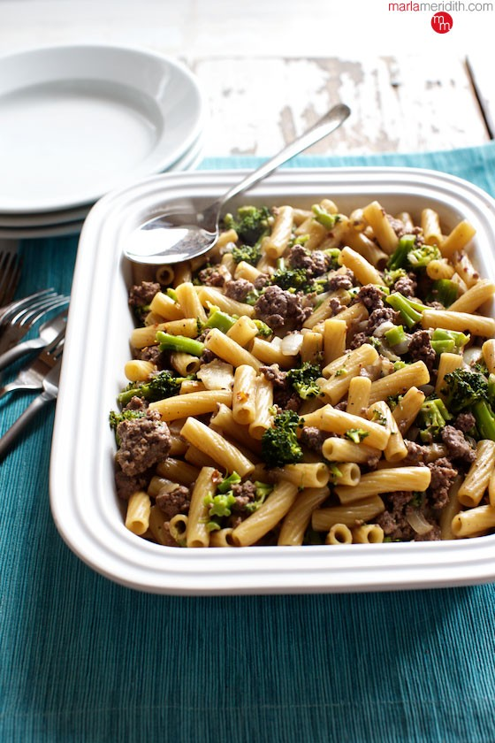 One Pot Pasta with Beef & Broccoli recipe. A delicious meal on the table in less than 30 minutes! MarlaMeridith.com