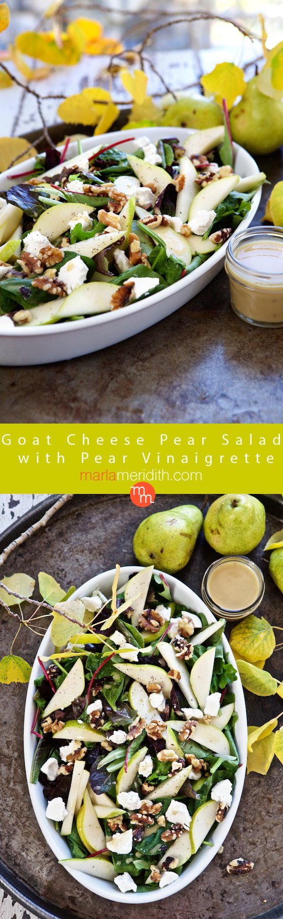 Goat Cheese Pear Salad with Pear Vinaigrette, this recipe is a delicious side dish for Thanksgiving & Christmas. MarlaMeridith.com ( @marlameridith )