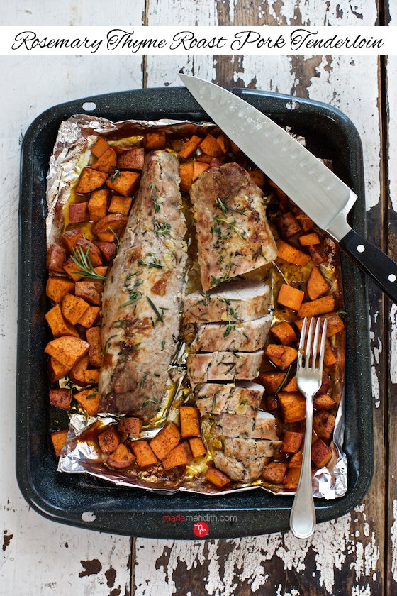 Think beyond turkey for the holidays! Rosemary Thyme Roast Pork Tenderloin recipe is moist, flavorful & completely delish MarlaMeridith.com ( @marlameridith)
