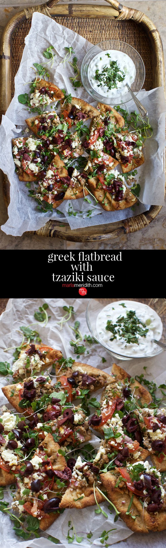 Greek Flatbread with Tzaziki Sauce recipe. A crowd pleaser for game day, family meals and entertaining. MarlaMeridith.com ( @marlameridith )