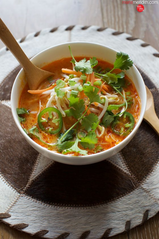 Spicy Thai Red Curry Noodle Soup #recipe. Best #soup you will ever eat! Kid approved too. #vegan #glutenfree MarlaMeridith.com ( @marlameridith )