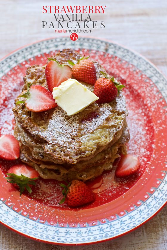 These Strawberry Vanilla Pancakes are the perfect summer breakfast or brunch! Get the recipe on MarlaMeridith.com