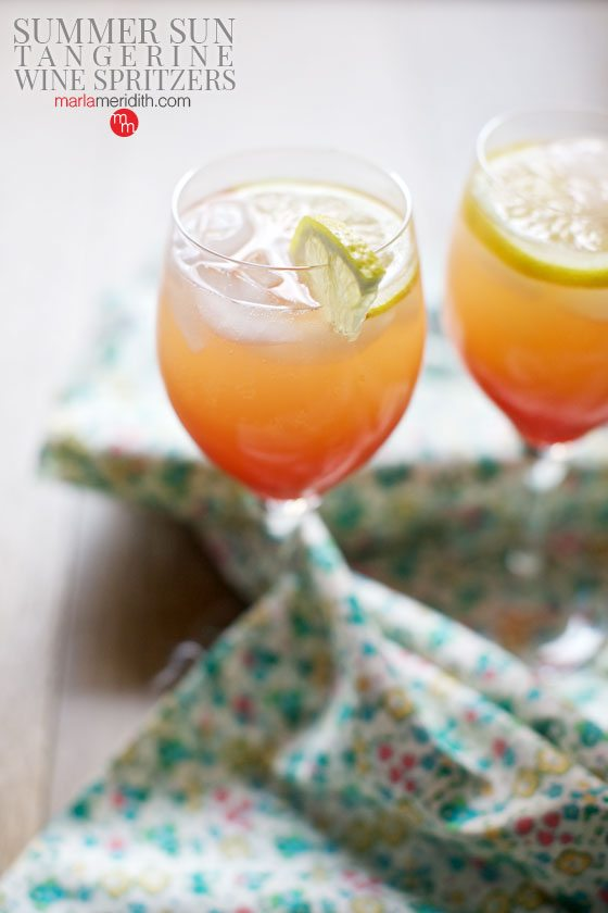 Summer Sun Tangerine Wine Spritzers are so delish and refreshing! Get the recipe on MarlaMeridith.com