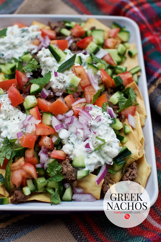 These Greek Nachos are the perfect dish for parties! MarlaMeridith.com #recipe #nachos