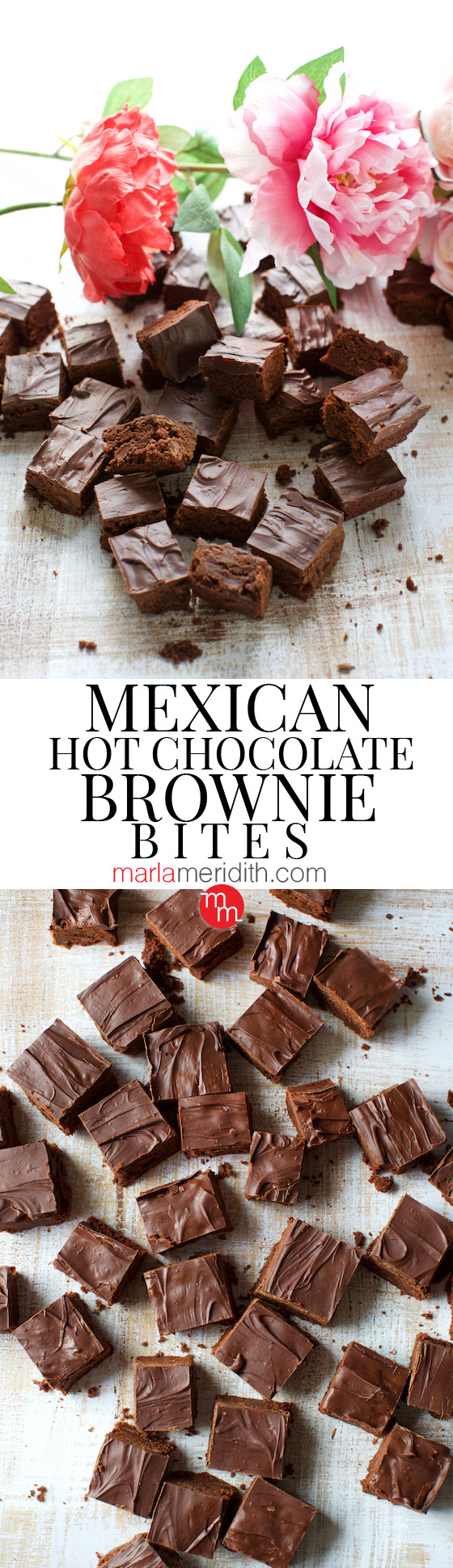 Mexican Hot Chocolate Brownie Bites recipe. Chocolate lovers beware! MarlaMeridith.com ( @marlameridith )