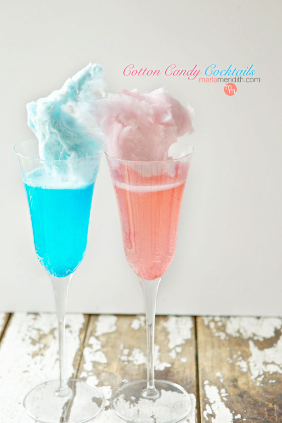 A fun way to ring in the New Year with Sparkling Cotton Candy Cocktails! MarlaMeridith.com