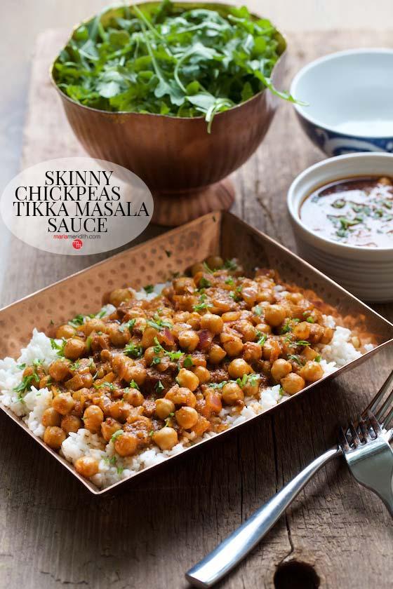 Skinny Chickpeas with Tikka Masala Sauce, a delicious, vegan recipe! MarlaMeridith.com