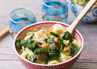 One-Pot Meatball & Veggies Tortellini Soup recipe, healthy and delicious! MarlaMeridith.com