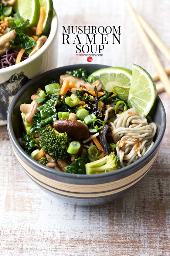This Mushroom Ramen Soup recipe will swoon vegetarians and all ramen lovers! MarlaMeridith.com