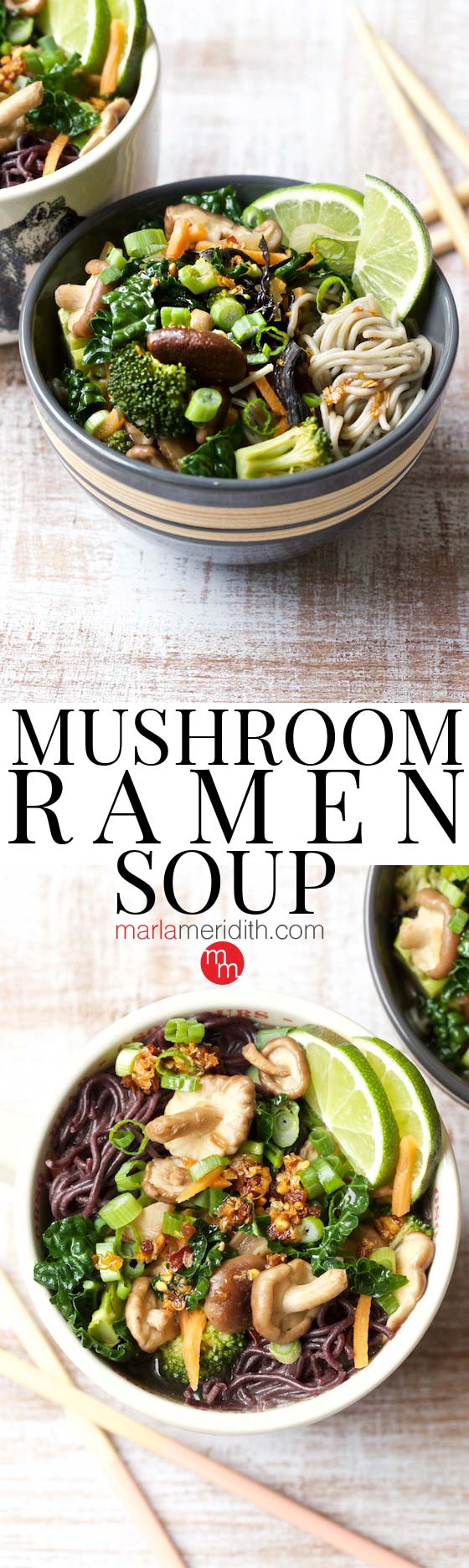 This Mushroom Ramen Soup recipe will swoon vegetarians and all ramen lovers! MarlaMeridith.com