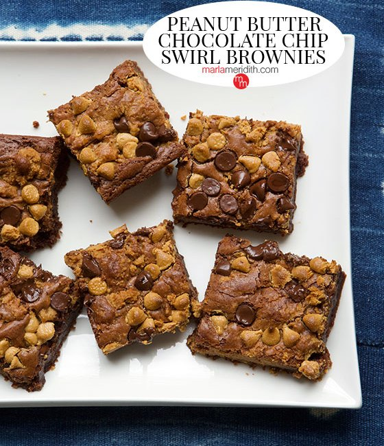 Get the recipe for these irresistible Peanut Butter Chocolate Chip Swirl Brownies on MarlaMeridith.com
