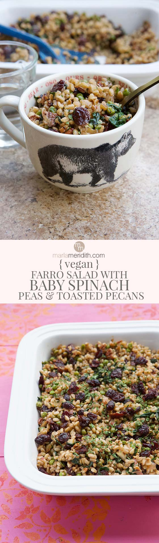 This Vegan Farro Salad with Baby Spinach, Peas & Toasted Pecans is a full, hearty meal, but also weighs in light and easy for summer. Get the recipe on MarlaMeridith.com