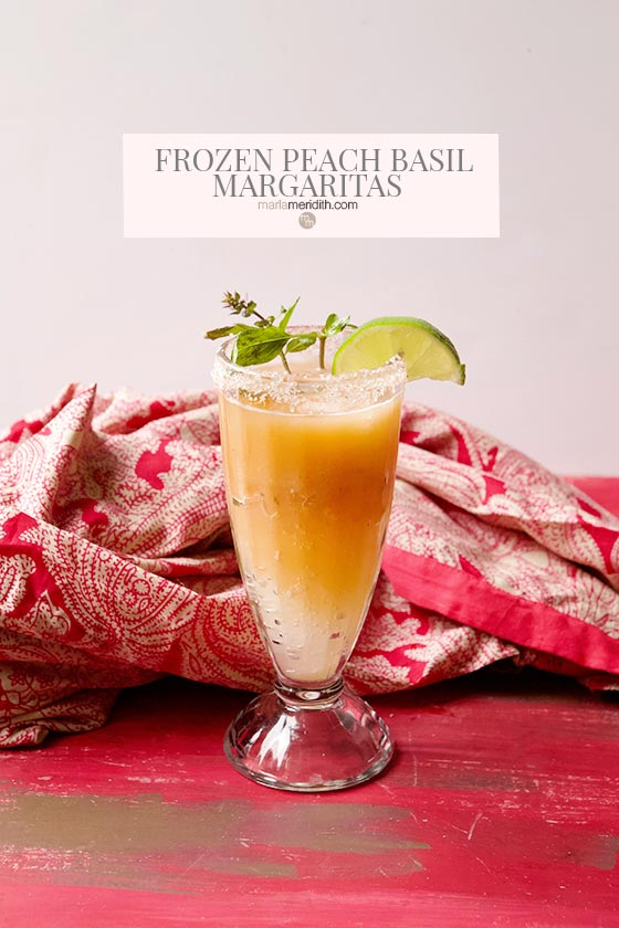 Peach Basil Margaritas make the most of our favorite summer fruit! Get the recipe on marlameridith.com
