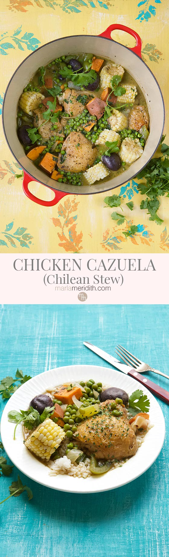 This Chicken Cazuela (Chilean Stew) recipe is perfect for all those upcoming chilly fall nights and busy back to school weeks. MarlaMeridith.com