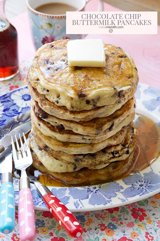 These Chocolate Chip Buttermilk Pancakes are always the hero at any breakfast or brunch table. Serve these up and you will be everyones hero too! Get the recipe on MarlaMeridith.com