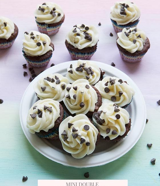 These Mini Chocolate Cupcakes for Cream Cheese Frosting are decadent, moist and irresistible! Get the recipe on MarlaMeridith.com