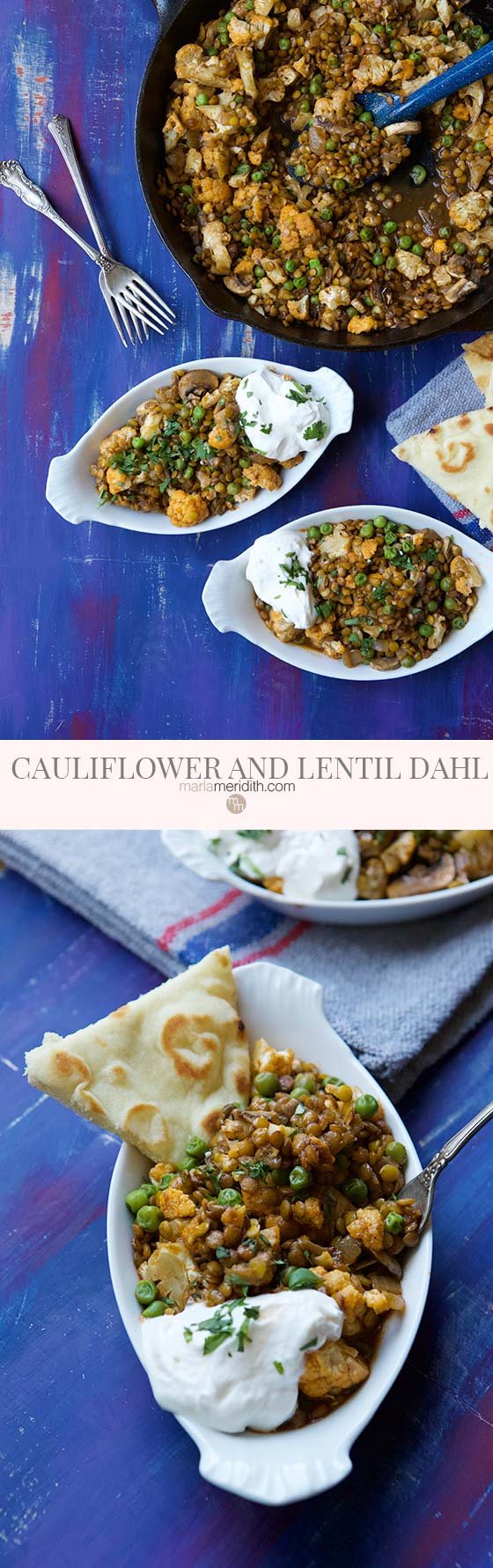 Try this healthy, vegetarian Lentil and Cauliflower Dahl recipe for Meatless Monday. We love this authentic Indian dish for lunch and dinner. MarlaMeridith.com