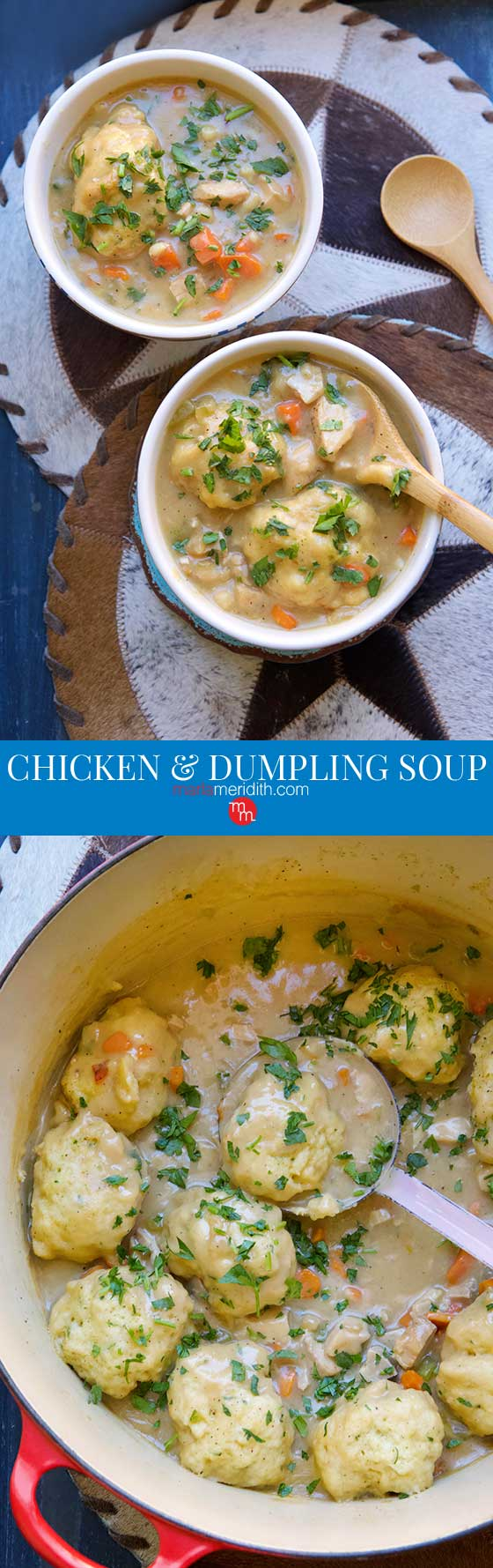 The MOST DELICIOUS Chicken & Dumpling Soup recipe you will ever eat! The perfect way to warm up on a chilly fall or winters day. MarlaMeridith.com