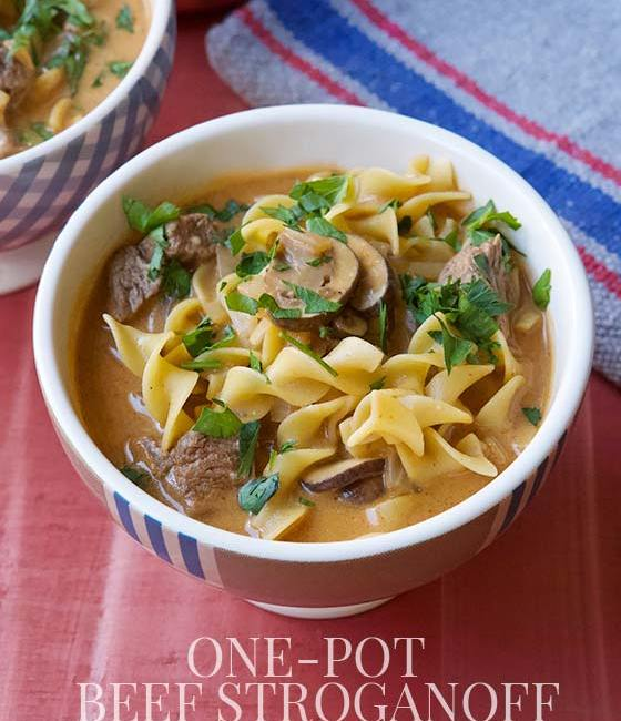 This healthy and delicious One-Pot Beef Stroganoff Soup recipe is everything you need for a warming family meal that comes together in just 30 minutes | MarlaMeridith.com