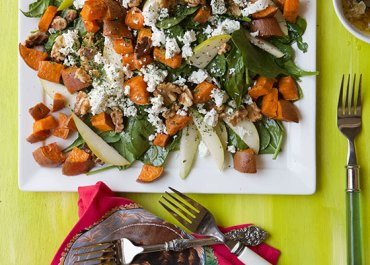 Spinach Salad with Roasted Sweet Potatoes and Shallot Vinaigrette