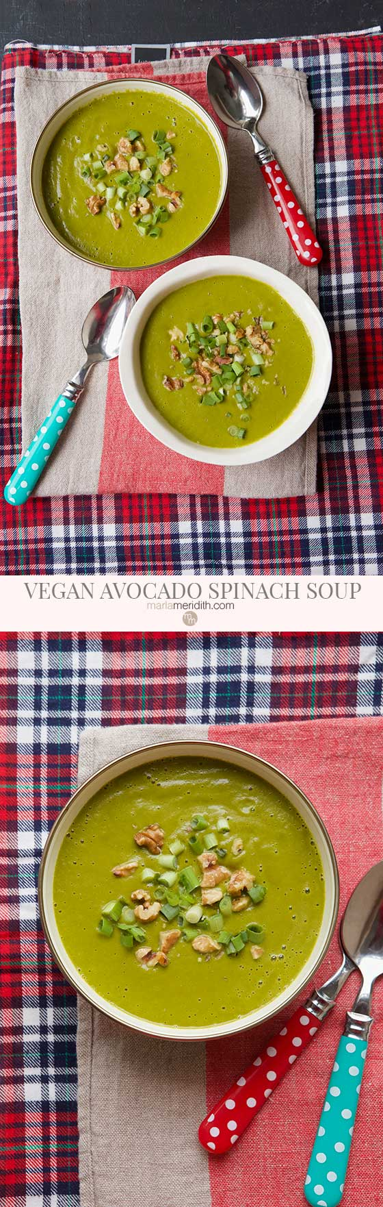 We love this super healthy Vegan Avocado Spinach Soup recipe, it's filled with flavor, healthy fats and vitamin packed. Delicious any time of the year! MarlaMeridith.com