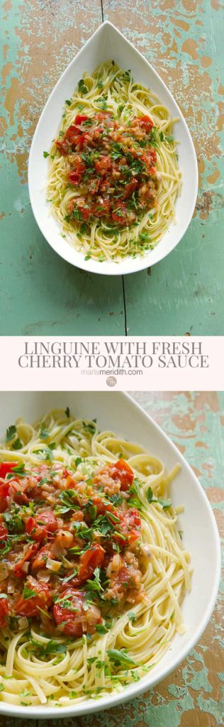 This Linguine with Fresh Cherry Tomato Sauce recipe is perfect for simple and delicious family meals and equally as great for easy entertaining too. Ready in under 20 minutes! MarlaMeridith.com