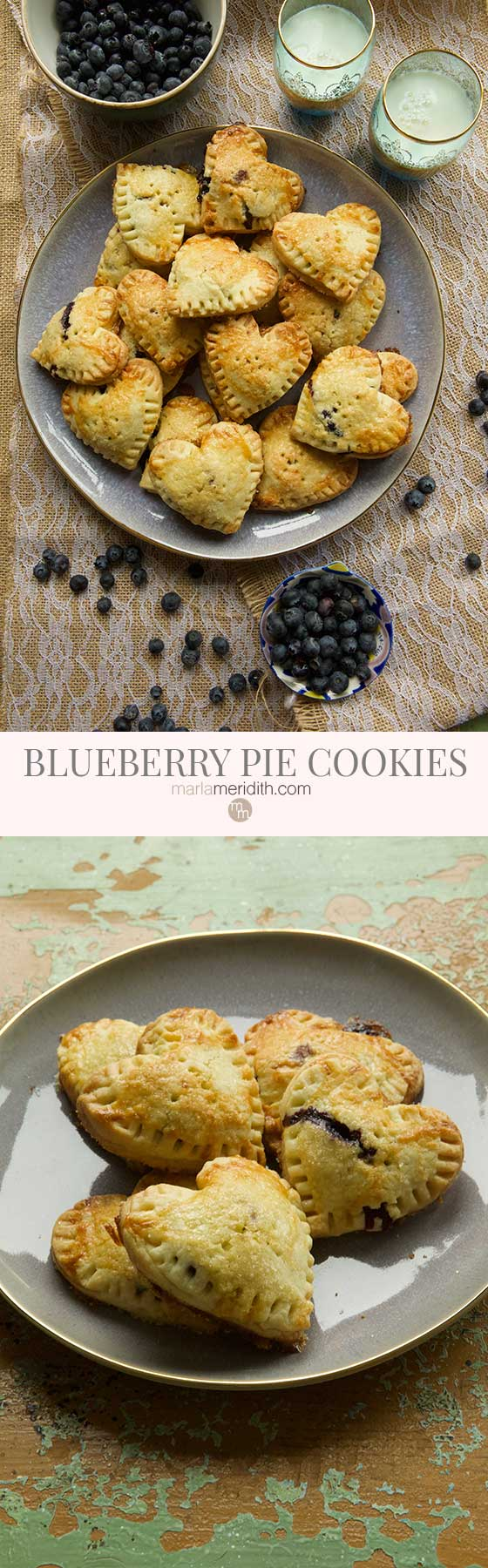 We are completely smitten with these Blueberry Pie Cookies. This recipe is great for entertaining and it will assure you don't eat the entire pie!  MarlaMeridith.com