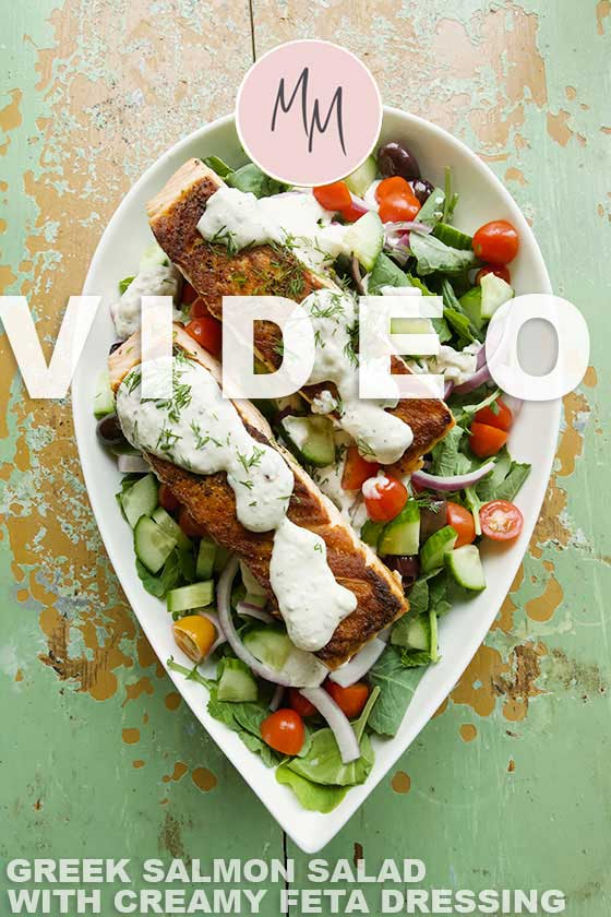 For a super healthy, delicious and gluten free meal you have gotta try this Greek Salad with Salmon and Creamy Feta Dressing recipe. The dressing can also be used as a dip for veggies or wings! MarlaMeridith.com