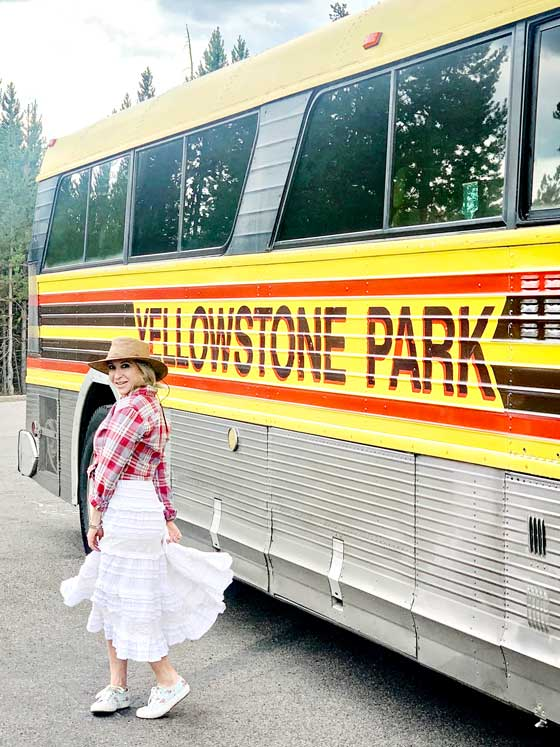 LOVE the vintage bus at Yellowstone National Park! MarlaMeridith.com