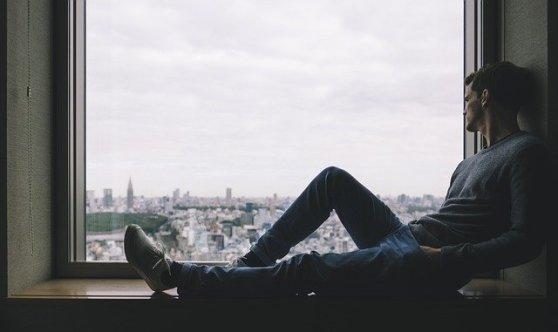 City Man Person Solo Window Alone