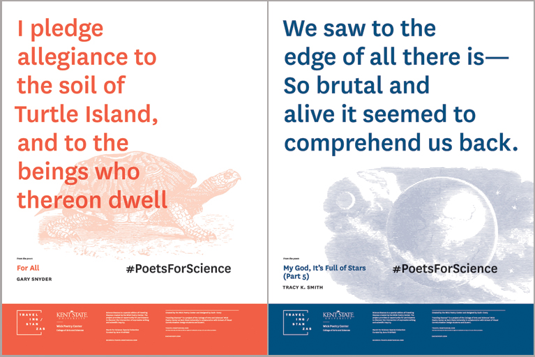 Posters from Poets for Science of poems paired with images. Photo courtesy of pw.org.