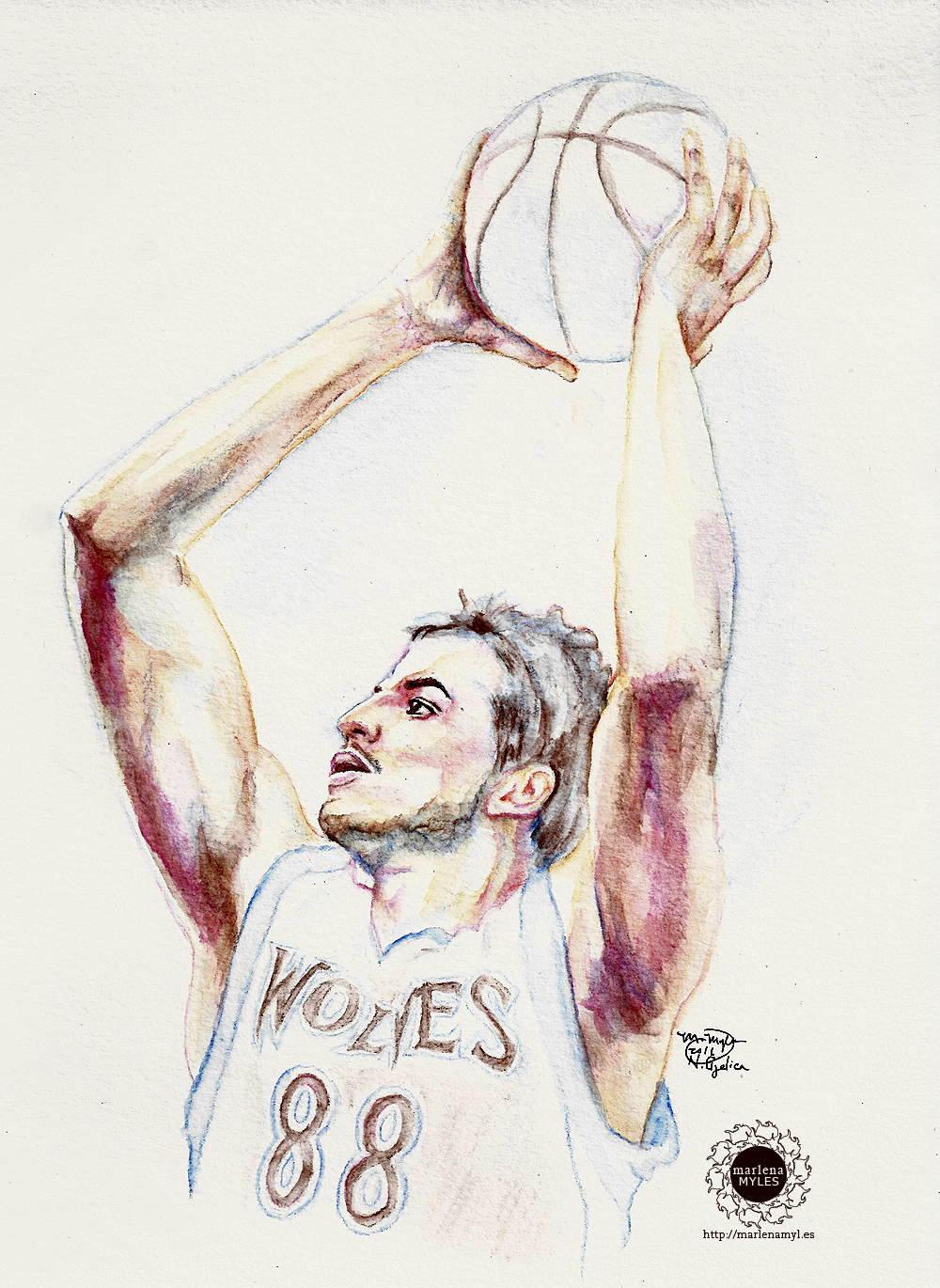 Watercolor painting of Nemanja Bjelica