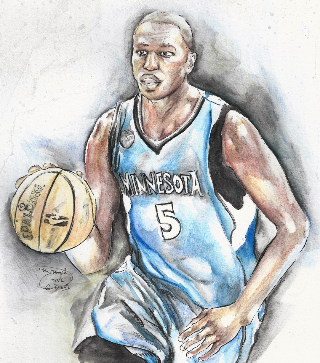 Watercolor painting of Gorgui Dieng