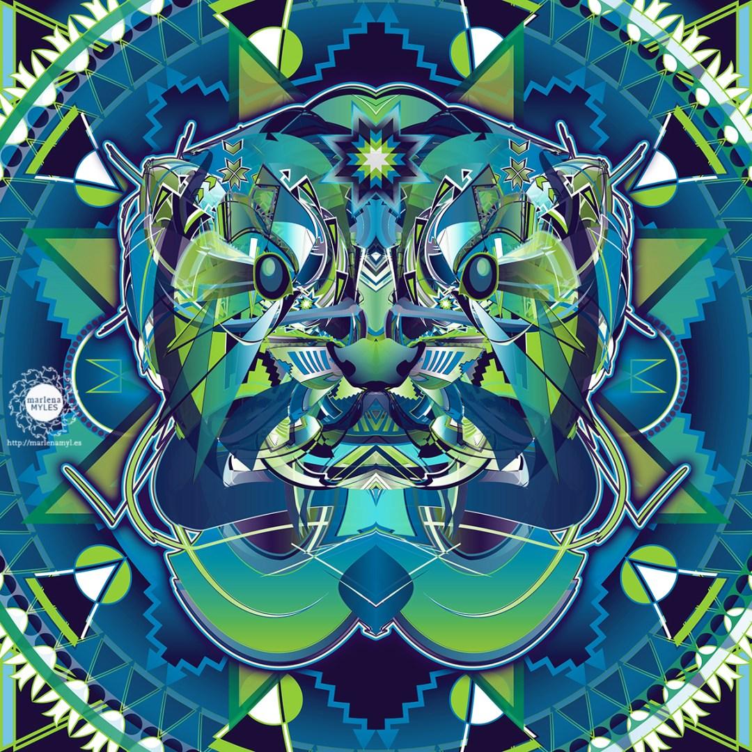 Vector illustration of a Native American Ptaŋ Naǧí   Dakota Otter Spirit
