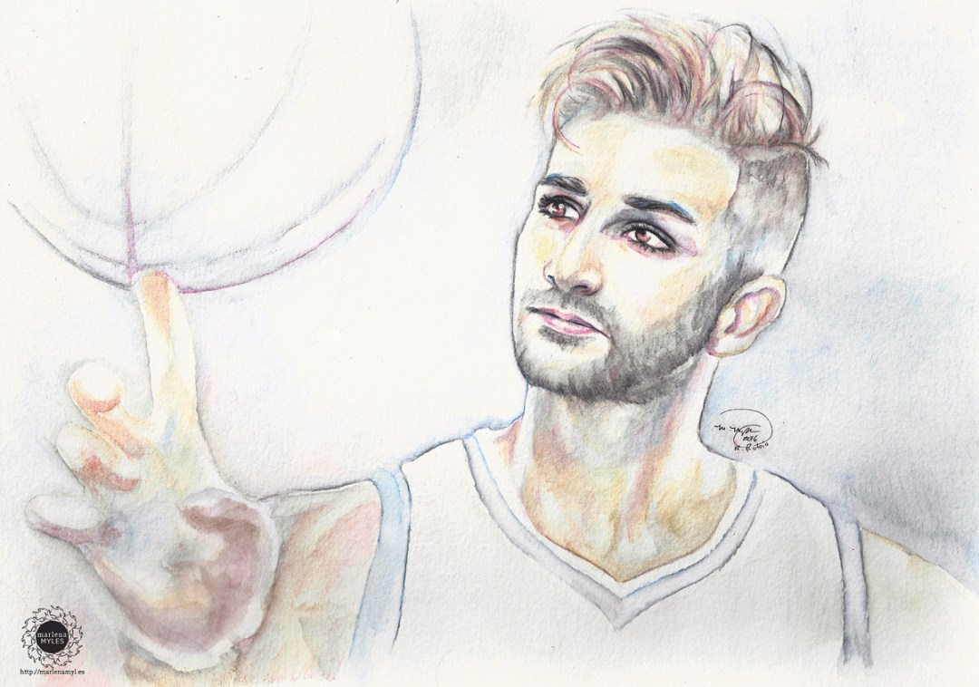 Watercolor painting of Ricky Rubio