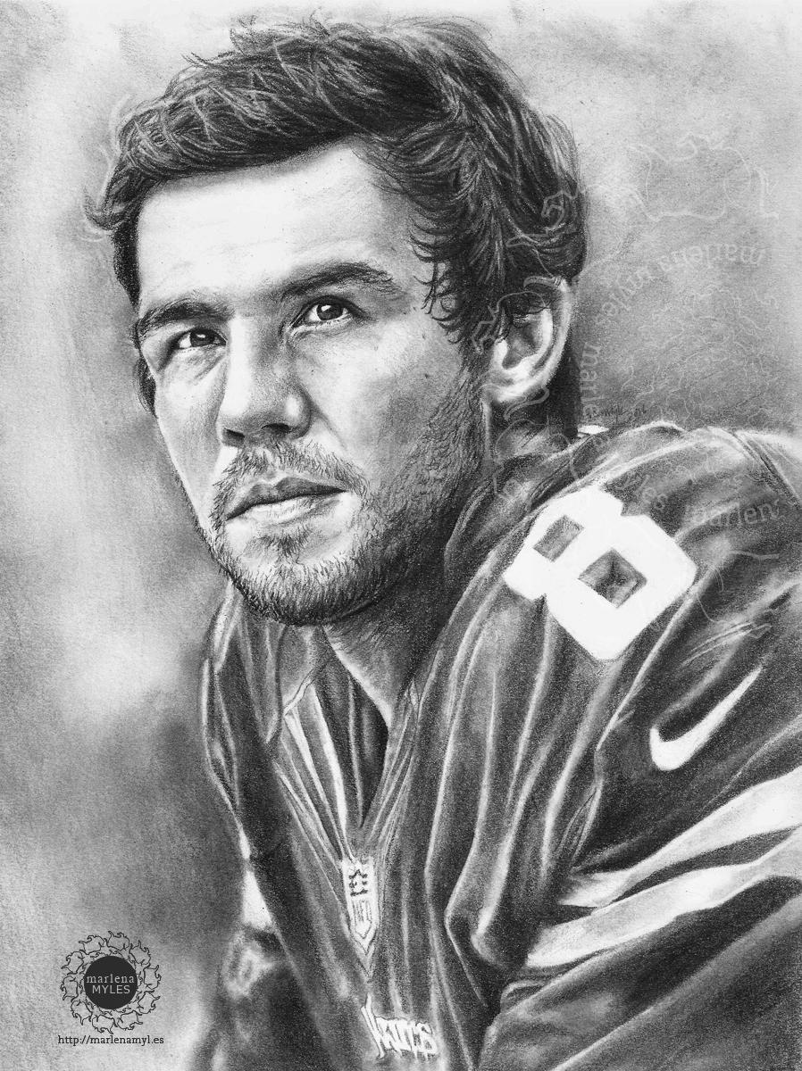 Portrait drawing of Sam Bradford