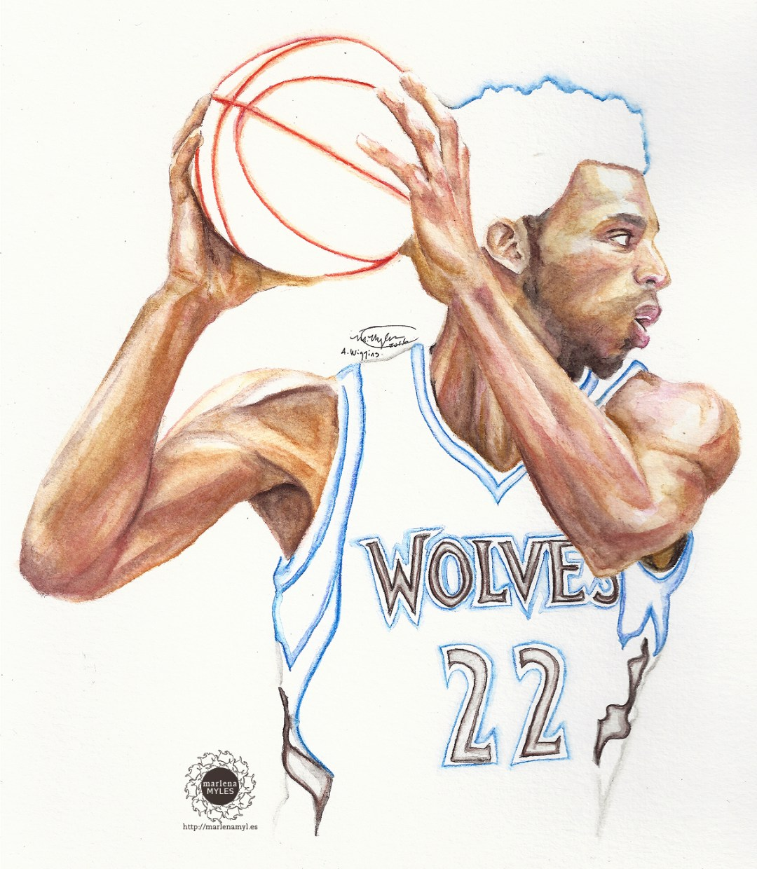Watercolor painting of Andrew Wiggins
