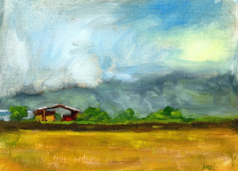 Cloverleaf Farm, 6 x 8 inches, oil, 2015
