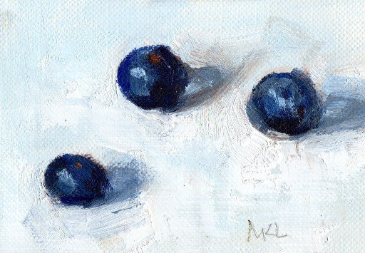Three Blueberries, oil on canvas panel, 2.5 x 3.5 inches, ACEO