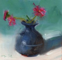 Pink Dianthus, 4 3/4 x 4 3/4, oil on paper